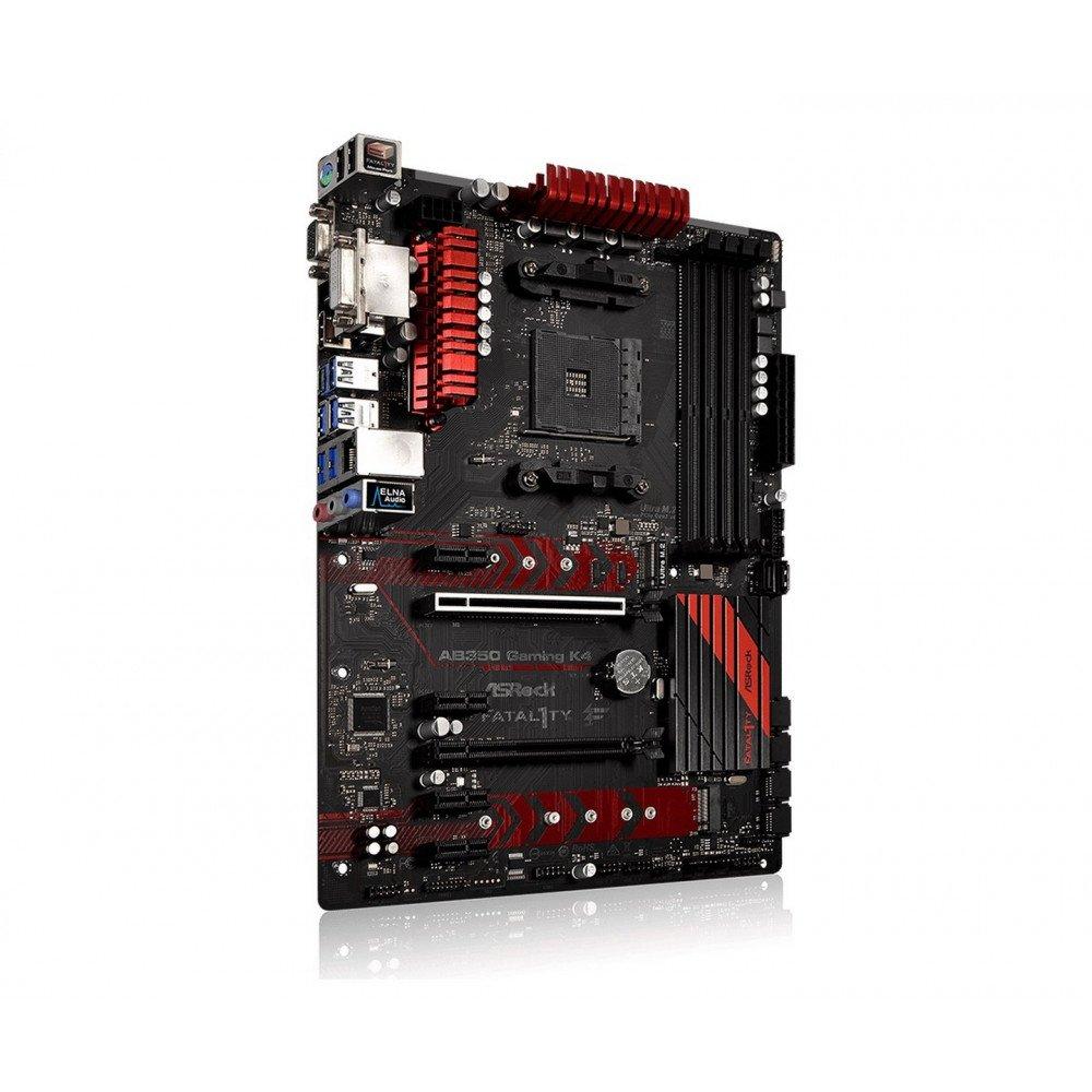 ASROCK Fatal1ty AB350 Gaming K4, AMD B350, DDR4 3200+(OC)/2667/2400/2133, VGA, DVI, HDMI, M.2 Socket, AM4