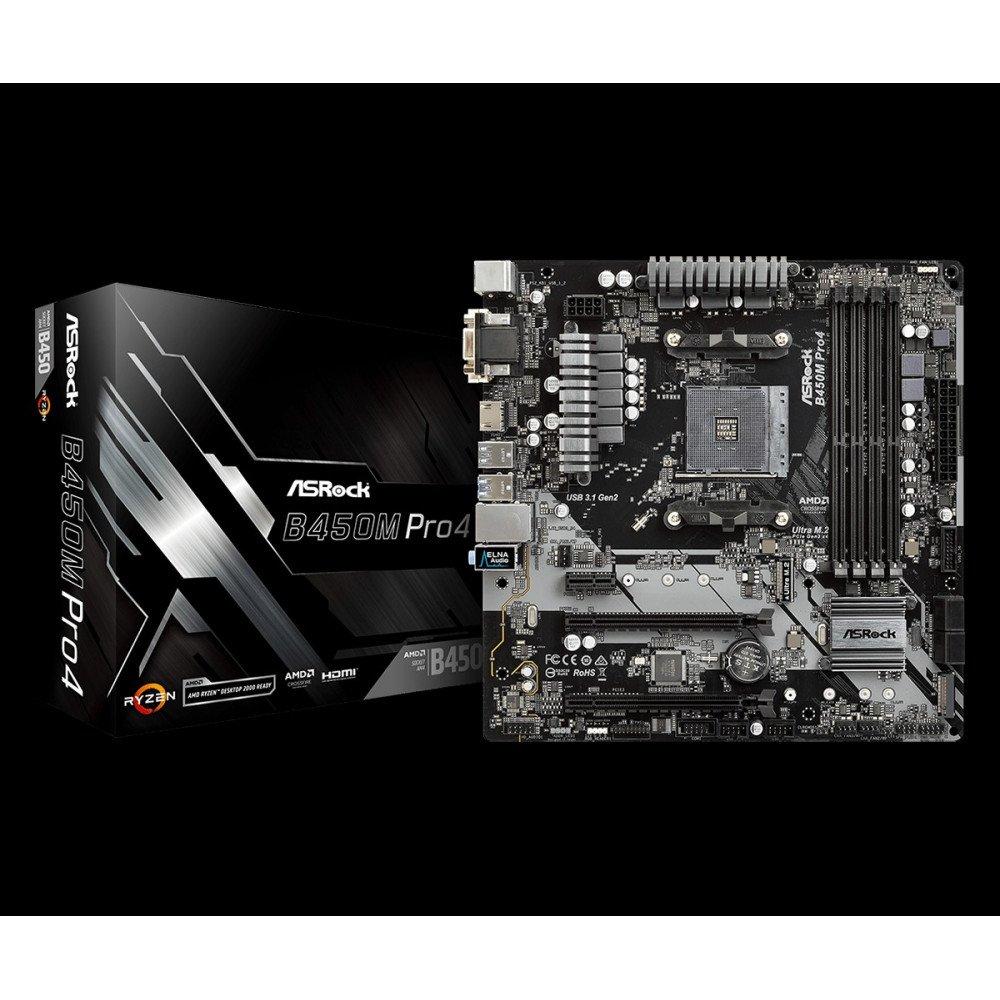 ASROCK B450M Pro4, AMD B450, DDR4 3200+(OC)/2667/2400/2133, VGA, DVI, HDMI, M.2 Socket, AM4