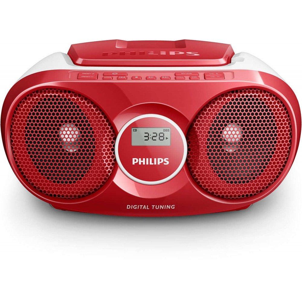 PHILIPS AZ215R, CD радиокасетофон, FM/MW стерео тунер, 2 x 1 W RMS, червен, захранване от мрежата или батерии размер C (LR14) x 6