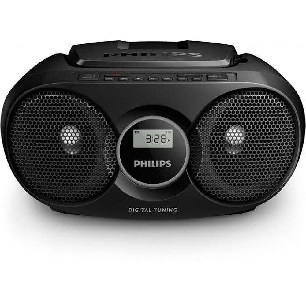 PHILIPS AZ215B, CD радиокасетофон, FM/MW стерео тунер, 2 x 1 W RMS, черен, захранване от мрежата или батерии размер C (LR14) x 6
