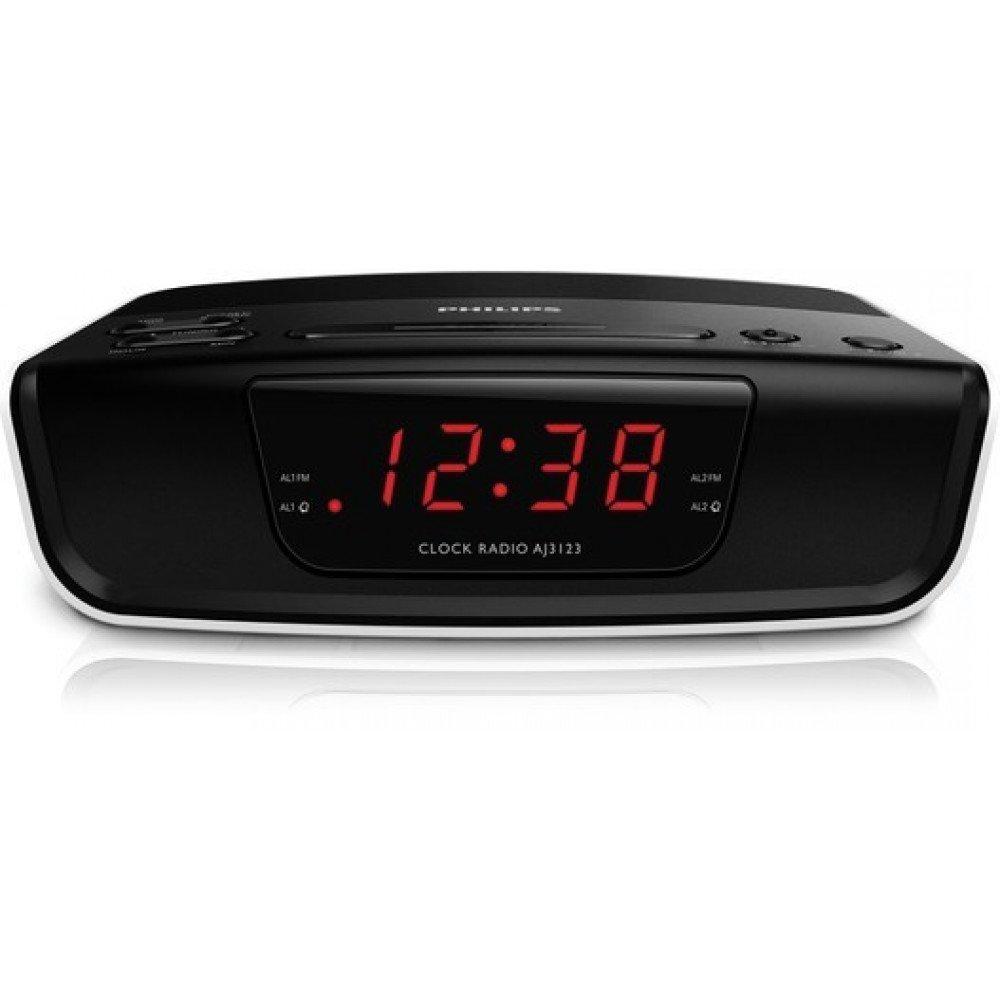 PHILIPS AJ3123, радио с часовник, AM/FM тунер, 4-часово нулиране на будилника, aларма със зумер, повторение на алармата (дрямка), таймер за заспиване