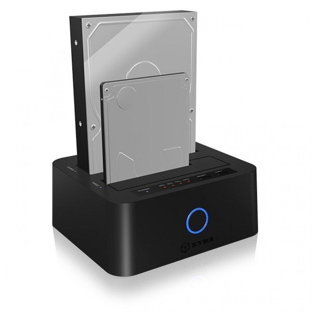 RAIDSONIC IB-123CL-U3 :: USB 3.0 UASP докинг станция за 2.5   и 3.5   SATA дискове, клониране на дискове + JBOD