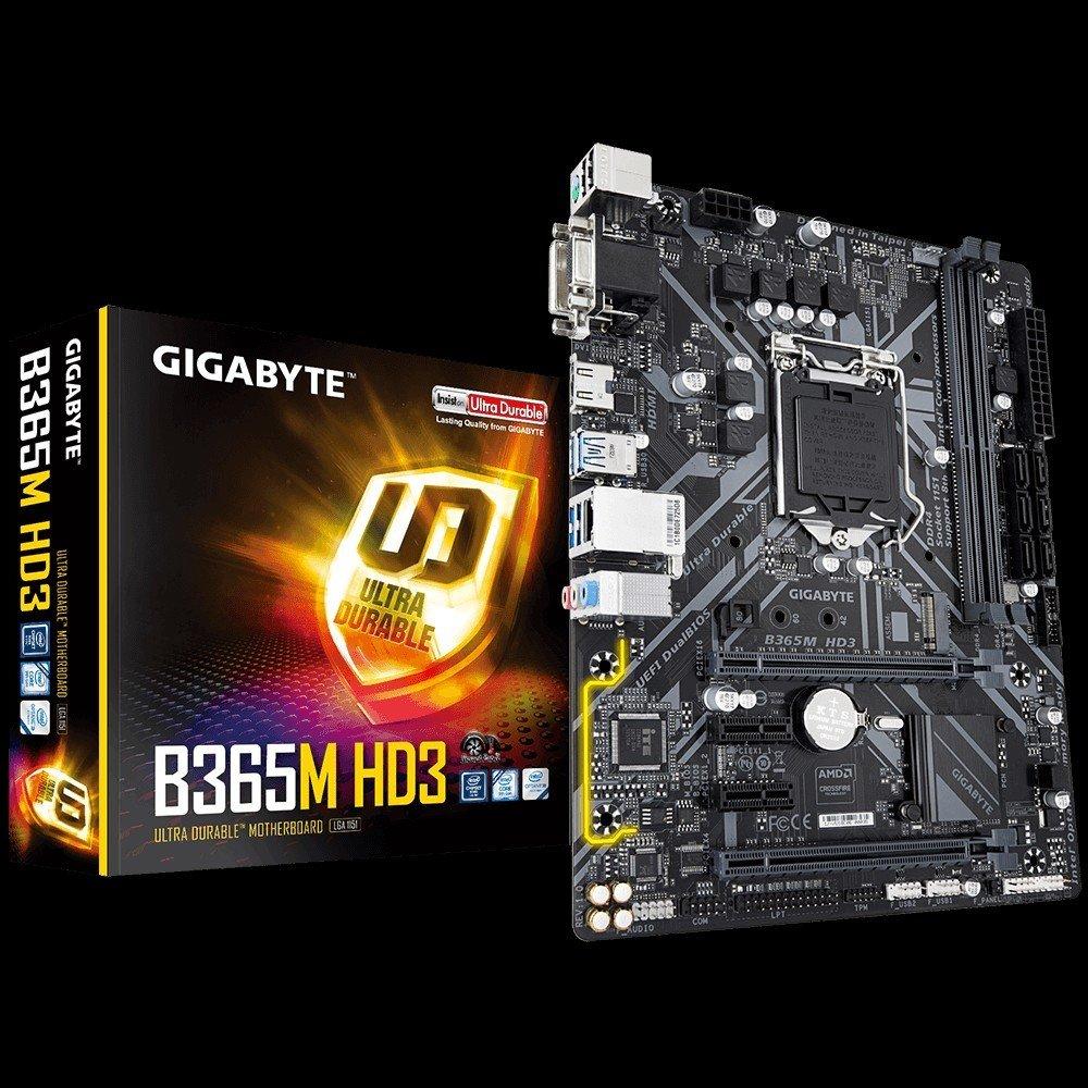 GIGABYTE B365M HD3, B365, DDR4 2666/2400/2133, VGA, DVI, HDMI, USB 3.1, LGA1151
