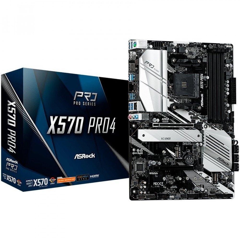 ASROCK X570 AM4 (SAM4,4xDDR4,2xPCI 3.0x16, 2xPCI Ex1,SATA III,2xHyper M.2,USB3.2,GLAN, HDMI,DP) ATX Retail