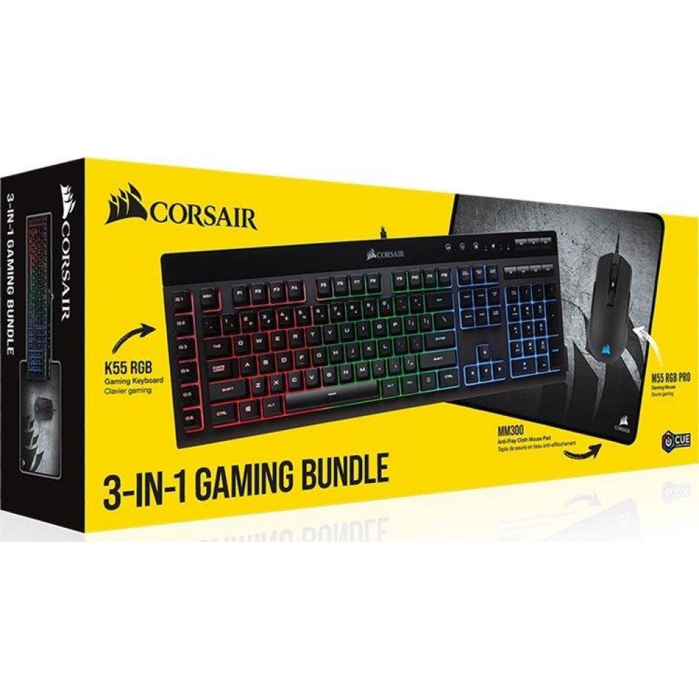 CORSAIR Bundle, K55 RGB Keyboard, M55 RGB PRO Mouse, MM300 Cloth -CH-9226415-NA